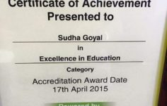 Excellence In Education Award - 2015 certificate