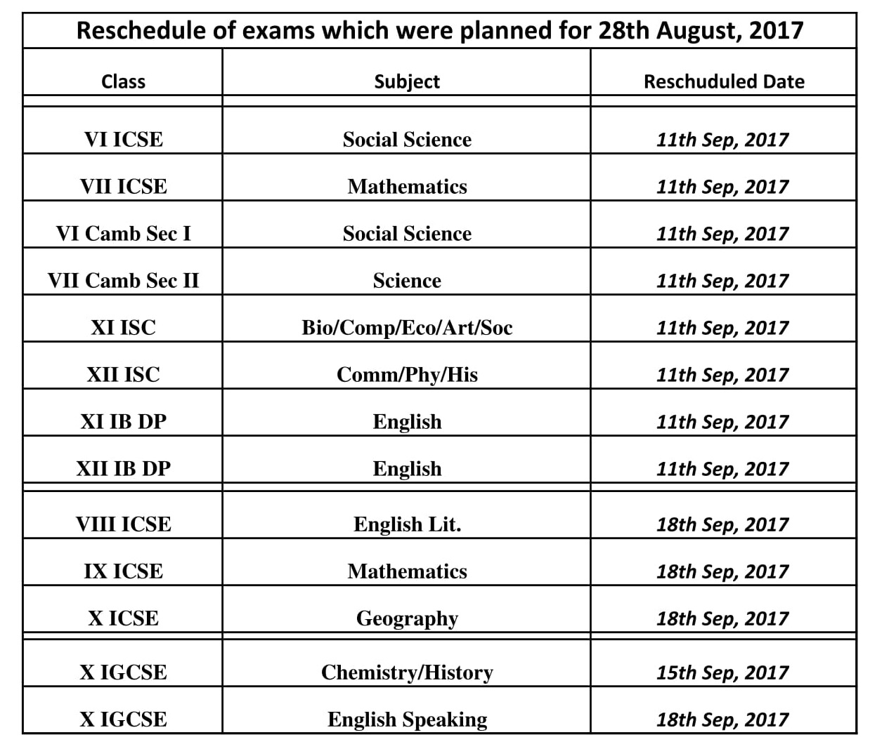 Reschedule of 28th August Exam