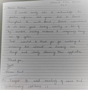 ERIC note of appreciation