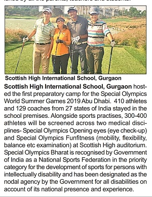 Gurgaon Times 9th April - first preparatory camp for Special Olympics World Summer Games 2019