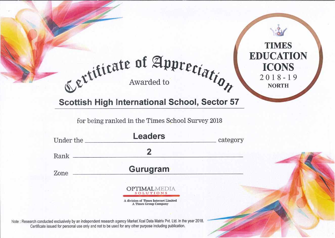 Best School in Gurgaon Award by Times of India 2018