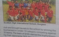 SHIS under 19 team won the School District Football Championship – Coverage by Gurgaon times NIE – 24th Sept