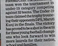 SHIS under 19 team won the School District Football Championship - Coverage by Hindustan Times