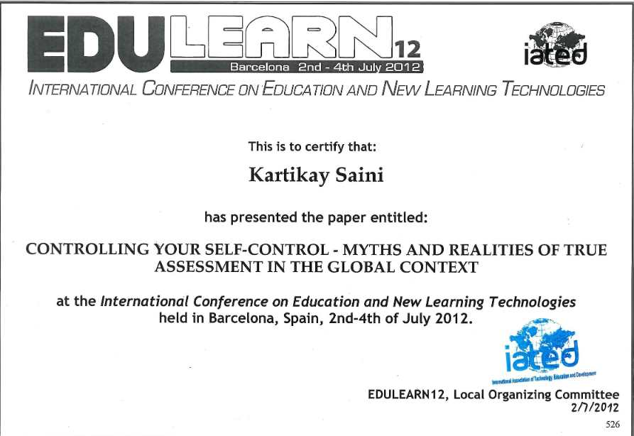 International conference on education - barcelona- Kartikay saini