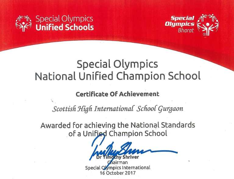National Unified Champion Schoool award 2017- Kartikay saini