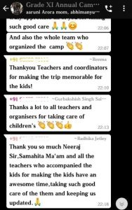 Parent feedback on Annual Camp for grade XI (1)