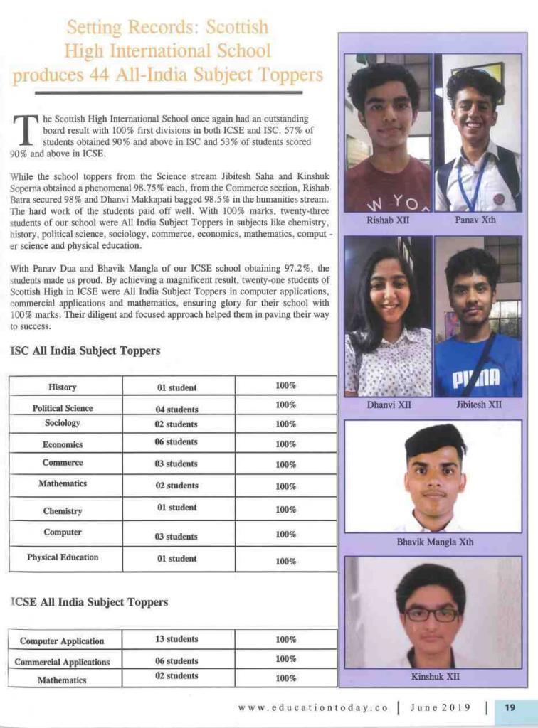 ISC & ICSE board result 2019 - featured by 'Education Today' magazine